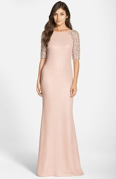 Pink gown withe sleeves by Badgley Mischka for a Mother-of-the-Bride