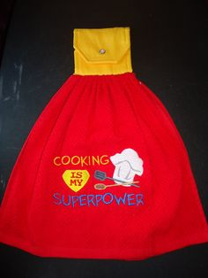 "Embroidered ""Cooking is my Superpower"" Kitchen Towel - pinned by pin4etsy.com"
