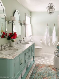 Cozy and Colorful Country Cottage Home Tour - Minty aqua blue/green painted vanity cottage glam master bath makeover. Cozy and Colorful Country Cottage Home Tour - Minty aqua blue/green painted vanity cottage glam master bath makeover. House Bathroom, Interior, Home, Cottage Homes, New Homes, Bathroom Interior, Bathroom Refresh, Bathrooms Remodel, Bathroom Decor