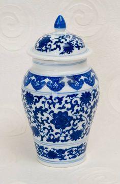 "Blue and White Porcelain Jar, 7"""