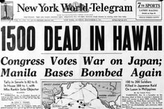 The front page of the December 8th, 1941, edition of New York World Telegram reads, '1500 dead in Hawaii', and describes the U.S. decision to declare war on Japan.