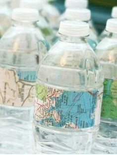 Travel Theme Ideas - Map Water Bottles & Labels via One Charming Party- mazelmom. Ideas de temas d Retirement Parties, Grad Parties, Travel Bridal Showers, Bon Voyage Party, Around The World Theme, Going Away Parties, Airplane Party, Thinking Day, Sweet 16 Parties
