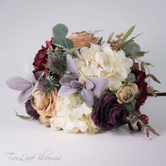 Ivory hydrangea, red roses, plum ranunculus, lamb's ear and asst. Bridal Bouquet Fall, Purple Wedding Bouquets, Fall Bouquets, Burgundy Wedding, Bridesmaid Bouquet, Fall Wedding, Wedding Flowers, Corsage And Boutonniere, Groom Boutonniere