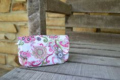 Pretty Pink Paisley  Zip Pocket Pouch  Pink by camelotsaccessories,