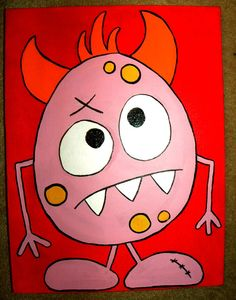 """Whimsical Lil"""" Monster painting in acrylics on 16 x 20 stretched canvas (Number Three: Melvin)"""