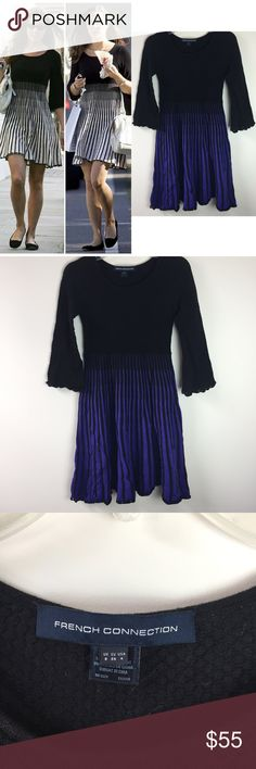 """French Connection Striped Knit Dress French Connection Striped Knit Dress. Size 4. Excellent condition. As seen on Kate Middleton in the past (different color). The body of this dress is a textured black knit, and the vertical stripes are purple. The sleeves flare out into a bell and hem a scalloped hem. Bust 14"""", length from shoulder 33"""", sleeves 17"""". 100% Cotton. Offers welcome! French Connection Dresses Midi"""