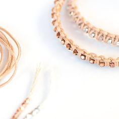Leather Bracelet Kit And Tutorial Diy Jewelry, Jewlery, Polymer Clay Beads, Diy Necklace, Leather Jewelry, Creative, Kit, Friendship Bracelets, Bangles