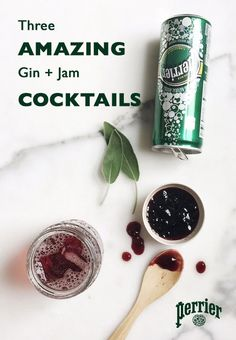 Gin & Jam: On a recent trip to the Hudson Whiskey distillery, Perrier discovered a very simple, very clever recipe that we just had to explore further. A gin and jam: pretty self-explanatory, but with so many variations we couldn't resist testing out some Cocktails, Party Drinks, Cocktail Drinks, Fun Drinks, Yummy Drinks, Cocktail Recipes, Drinks Alcohol, Alcohol Recipes, Jam Recipes