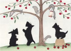 Scotties (scottish terriers) knock over apple basket in pursuit of squirrels / Lynch signed folk art print. $12.99, via Etsy.