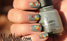 Acutely Rainbowed Grey Nails by Nail Nerd