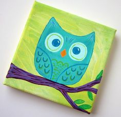 Sweet Little Teal Owl on a Tree Branch Original Acrylic Painting by Lova Revolutionary. This cute mini painting is on a small wrapped canvas 5 x 5