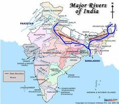 Origin and Mouth of Indus and its Tributaries Brahmaputra and its Tributaries River Ganga and its Tributaries Godavari,Krishna,cauvery, and its Tributaries India World Map, India Map, Ancient Indian History, History Of India, History Medieval, Indian River Map, Geography Map, Physical Geography, Geography Lessons