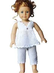 This outfit is meant to be after school clothes, but would make terrific PJs for Molly and Emily, or for Julie and Ivy.