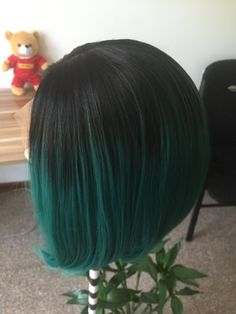 Fashion Ombre Dark Green Straight Short Bob Synthetic Lace Front Wig