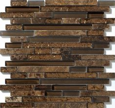 CSM Interiors > Casa Roma Glass Metro ceramic Glass Metro Random Strip Mosaic Bronze Chocolate Mix 12x12 CASJGS09DRL
