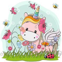 Cute Cartoon Unicorn on a meadow. Cute Cartoon Kitt Unicorn on a meadow with flowers and butterflies stock illustration Cartoon Monkey, Cartoon Unicorn, Girl Cartoon, Cute Cartoon, Unicorn Drawing, Unicorn Art, Rainbow Unicorn, Cartoon Mignon, Unicorn Wallpaper Cute