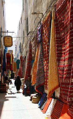 A carpet vendor's outdoor lair in Essaouira, Morocco
