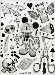 tattoo symbolic flash sheets by david cook, via Behance - especially love the Masonic Mickey Mouse one