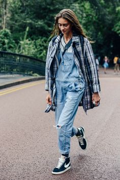 September 15, 2013 Tags Ripped, Marine Deleeuw, Sneakers, Model Off Duty, Overalls, Plaid, Nike, Denim, Models, London, Women