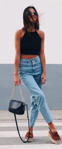 how to pair a crop top with high waist jeans  Perfect for my superstar adidas