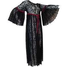 Pre-owned 1960s Black Lace Baby Doll Robe with Velvet Ribbon Trim ($445) ❤ liked on Polyvore featuring intimates, robes, lingerie, black robe, vintage babydoll lingerie, black lingerie, baby doll lingerie and lacy black lingerie