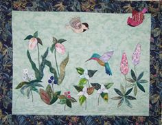 Woodland Flowers ~ Directions for banner includes 9 different flowers for quilts or blocks and 3 song birds wall quilt. Woodland Flowers, Applique Quilt Patterns, Different Flowers, Banner, Fairy, Birds, Wall, Banner Stands, Bird
