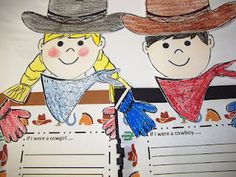 Cowboy and Cowgirl Glyph Teacher Created Resource on sale at TpT for $.99 on 4/11 at http://www.teacherspayteachers.com/Product/Cowboy-and-Cowgirl-Glyph