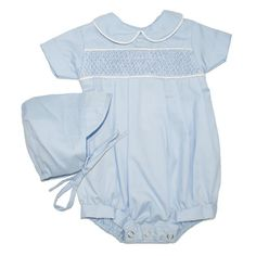 82c1f6363 Alfie Blue Plain - Hand-smocked top (soft cotton lining to inside of  smocking
