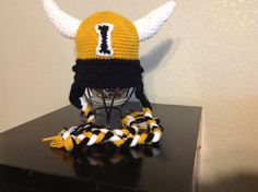 University of Idaho, U of I, Vandals crochet beanie, hat with ear flaps via Etsy