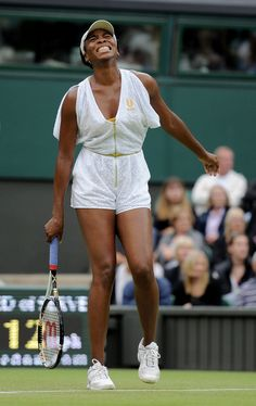 LONDON, ENGLAND - JUNE 22:  Venus Williams of the United States reacts to a play during her second round match against Kimiko Date-Krumm of Japan on Day Three of the Wimbledon Lawn Tennis Championships at the All England Lawn Tennis and Croquet Club on June 22, 2011 in London, England.  (Photo by Michael Regan/Getty Images)