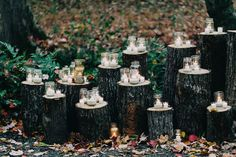 Candles on wood trunks. Love this. For the Yaak?