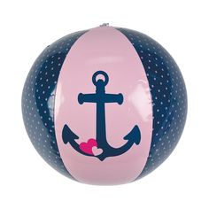 """Nautical Girl Beach Balls - These pretty pink-and-black nautical beach balls are perfect party favors for luaus, baby showers, 1st birthday parties and more! Add some bounce to your next pool party when you toss a few of these balls in the water, or bring them along on your beach bash or seaside celebration. Printed with an anchor and a sweet heart, they're cute gifts for nautical girls and make a splash whatever the occasion! Inflated, 11"""". $10.99 Per Dozen"""