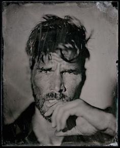 Hairstylist ‪‎Damian Monzillo‬ styles grooming for Jason Weber in these tin type photographs