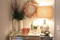 create a cozy drink corner. moscow mules will be at our festivities this year. fresh trimmings everywhere possible!
