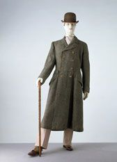 1906-8 - Driving coat. This versatile double-breasted coat made of a heavy wool would have been ideal for outdoor wear. At the turn of the century a growing interest in sports and leisure pursuits led to more relaxed clothing for men. Comfortable clothes were needed to ride a bicycle, drive a motor car or play golf. This resulted in a range of informal styles that fed into mainstream fashion: