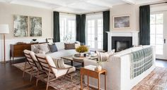 Living Room in Client West Coast is the Best Coast by Amber Interiors on Beige Living Rooms, Living Room Sets, Rugs In Living Room, Living Room Designs, Living Spaces, Living Room Theaters, Design A Space, Amber Interiors, Home Trends