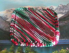 Hand knit cotton dish cloth 7.5 by 7.5 by LandLCandlesandCraft on Etsy