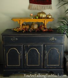 Painted black buffet with Annie Sloan Graphite Black Painted Furniture, Chalk Paint Furniture, Distressed Furniture, Recycled Furniture, Painted Walls, Furniture Refinishing, Recycled Wood, Sideboard Furniture, Furniture Makeover