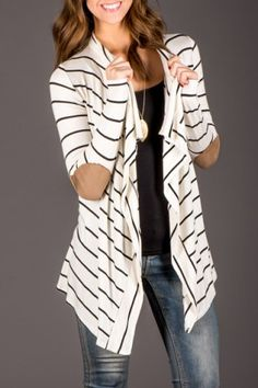 Chic Collarless Long Sleeve Spliced Striped Women's CardiganSweaters & Cardigans | RoseGal.com