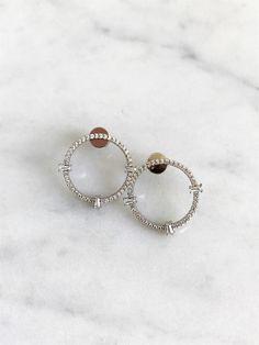 Open Circle Stud Earring, Crystal Circle Earring, Sterling Circle Earrings by iiShiiDesigns on Etsy