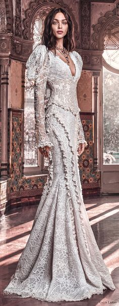 galia lahav spring 2018 bridal leg of mutton long sleeves v neck full embellishment elegant vintage fit and flare wedding dress mid scoop back chapel train (charlie and dolly belt) mv -- Galia Lahav Spring 2018 Wedding Dresses