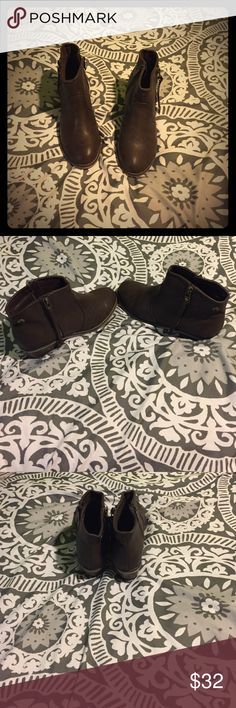 Adorable brown booties! Only worn once! In mint condition. Purchased at a boutique (apricot lane) Breckelles Shoes Ankle Boots & Booties