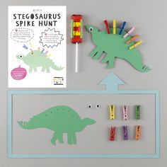 Go on a Stegosaurus Spike Hunt craft activity & treasure hunt. Dinosaur Party Bag idea for 3-8 year olds. For boys and girls with imaginations. Creative party bag ideas.