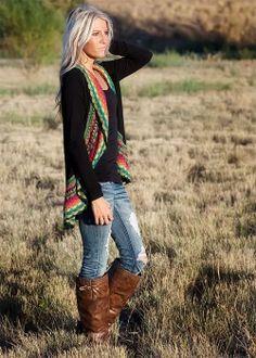 black multi-colored crochet sweater