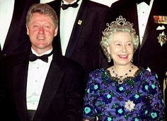 President Clinton and Britain's Queen Elizabeth II take a group photo at the Guildhall in London on June 4, 1994, before heading to a banquet marking the 50th anniversary of the D-Day invasion of Normandy.