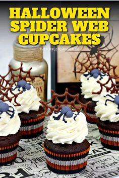 For a spider-themed Halloween party, you must make these awesome chocolate Spider Web Cupcakes! Triple-chocolate cupcakes are swirled with vanilla frosting and topped with a chocolate spider web and a fondant spider! Arachnophobes beware! #HalloweenCupcakes #ThePurplePumpkinBlog Chocolate Candy Melts, Chocolate Cake Mixes, Chocolate Cupcakes, Melting Chocolate, Halloween Cupcakes, Halloween Party, Chocolate Spiders, Spider Cupcakes, Cupcake Recipes From Scratch