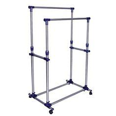 eweiu0026 homewares premium heavy duty double rail adjustable telescopic rolling clothing and garment rack - Portable Clothes Rack