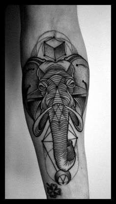 Blackwork elephant tattoo