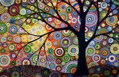 Creative Beautiful Modern Art Canvas Wall Art - Abstract Art Watercolor Painting Landscape Tree Canvas Print - of the month illustration Mandala Art, Watercolor Paintings, Original Paintings, Modern Canvas Art, Modern Art, Contemporary Landscape, Dot Painting, Painting Canvas, Guitar Painting