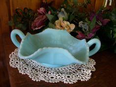 Vintage Fenton Blue Satin Glass Bonbon by stonecottagemill on Etsy, $32.50